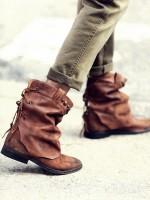 kahve deri zımbalı kısa bot çizme