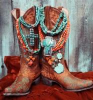 kahve mavi işlemeli kovboy bot biker çizme