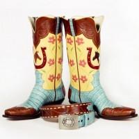 kahve mavi sarı kovboy bot çizme biker
