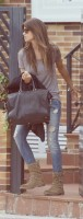 kahverengi bot yırtık kot boyfriend jeans