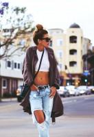 kahverengi ceket boyfriend jeans kot kadın