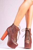 kahverengi deri kadın Jeffrey Campbell bot ayakkabı