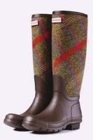 kahverengi ekose desenli hunter yağmur çizmesi kadın bot