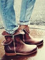 kahverengi fermuarlı kısa bot çizme