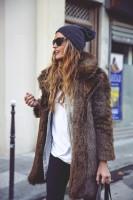 kahverengi kürk mont ceket kadın bere şapka