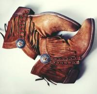 kahverengi nubuk püsküllü kısa bot çizme