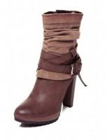 kahverengi topuklu bot derimod