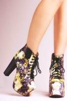 kamuflaj desenli Jeffrey Campbell ayakkabı kadın tarz bot