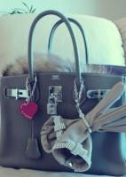 koyu gri süet hermes kol çantası