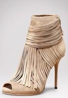 krem rengi püsküllü topuklu kadın gucci ayakkabı