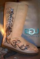 krem rengi uzun desenli ugg bot kadın çizme kış