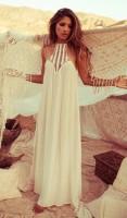 krem rengi uzun plaj elbisesi