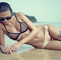 krem siyah bikini kombin
