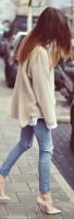 krem stiletto ayakkabı kadın yırtık kot boyfriend jeans