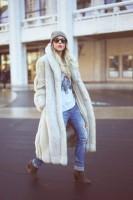 krem uzun kürk kadın ceket mont jean topuklu ayakkabı
