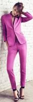 lila rengi kumaş pantolon ceket kombini