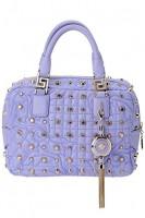 lila rengi zımbalı deri küçük el çantası versace
