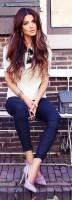 lila stiletto ayakkabı dar kumaş pantolon kombini