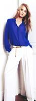 mango beyaz bol pantolon mavi gömlek