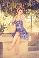 mavi beyaz çizgili elbise retro style tarz