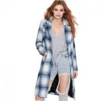 mavi beyaz ekose gömlek yırtık kot jean kadın uzun ceket boyfriend