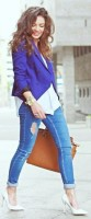 mavi blazer ceket beyaz bluz mavi dar pantalon beyaz stiletto