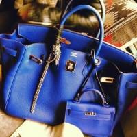 mavi deri kol çantası hermes