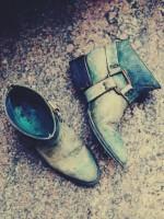 mavi eskitme kısa bot çizme