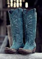 mavi işlemeli nubuk kovboy bot biker çizme