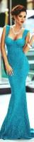 mavi kalın askılı uzun abiye gece elbisesi