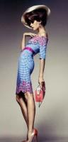 mavi kareli desenli diz üstü elbise retro style tarz