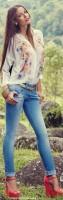 mavi kot jeans dar pantolon