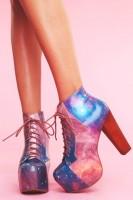 mavi pembe desenli Jeffrey Campbell ayakkabı bot tarz kadın