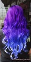 mavi saçlar dalgalı çılgın