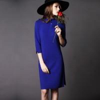 mavi saks kadın kışlık elbise şapka