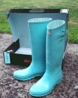 mavi turkuaz kadın yağmur botu hunter çizme