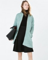 mavi uzun zara kaban ceket kış kadın