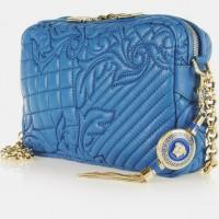 mavi zincir askılı el çantası deri versace