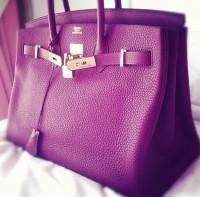 mor deri hermes kol çantası