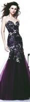 mor işlemeli straplez uzun tarık ediz abiye elbise