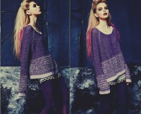mor lila yün kazak kadın triko