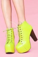 neon yeşil Jeffrey Campbell ayakkabı kadın bot kış
