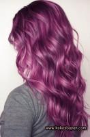 pastel mor dalgalı uzun saç modeli