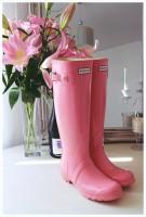 pembe hunter yağmur çizmesi botu kadın