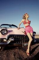 pembe kısa şort puanlı bikini retro style tarz