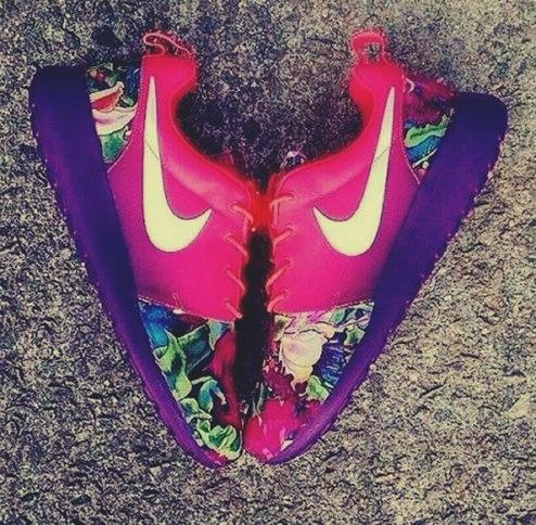 pembe mor nike kadın spor ayakkabı
