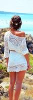 plaj modası beyaz dantel elbise