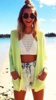 plaj modası kot şort hırka kombini