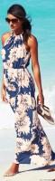 plaj modası uzun desenli elbise
