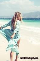 plaj yaz uzun mavi pareo